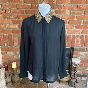 Vince Camuto Black Sheer Gold Accent Blouse Top
